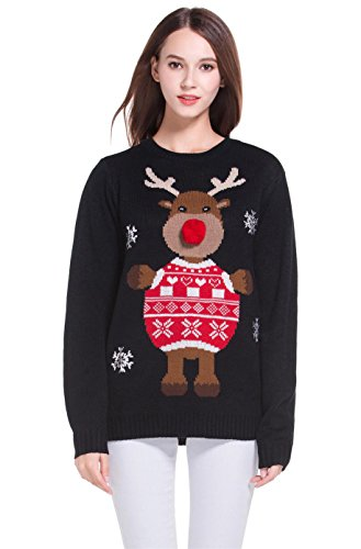 Women's Christmas Cute Reindeer Knitted Sweater Girl Pullover