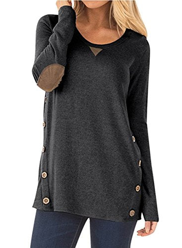 ce9408ca8e6 NICIAS Womens Side Buttons Long Sleeve Casual Crew Neck Elbow Patched  Sweatshirt Loose T Shirt Blouses