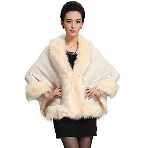 Caracilia Women Luxury Bridal Faux Fur Shawl Wraps Cloak Coat Sweater Cape