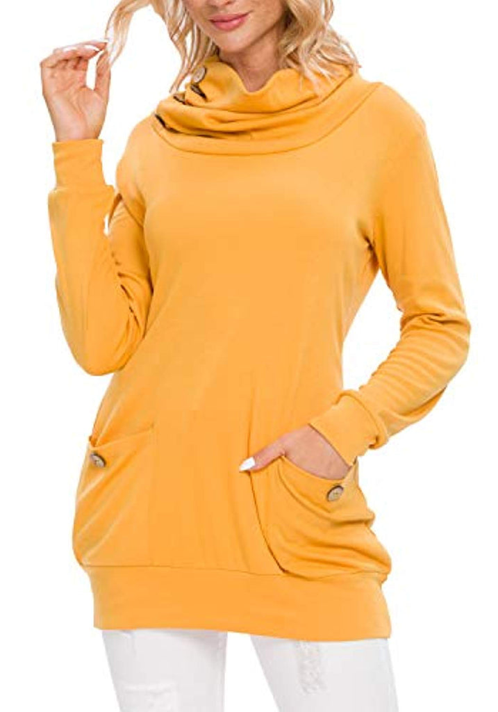 Womens Long Sleeve Button Cowl Neck Casual Slim Tunic Tops with Pockets