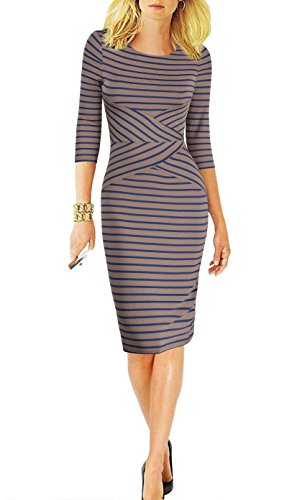 Women 3/4 Sleeve Striped Wear to Work Business Cocktail Pencil Dress