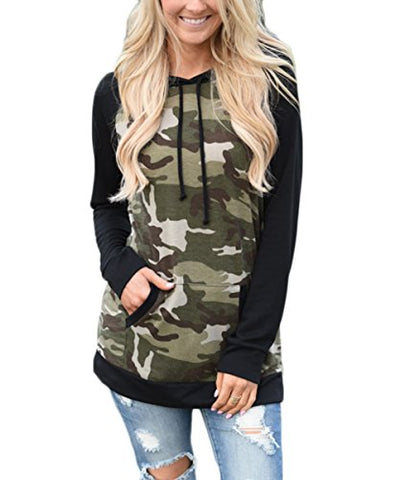 Thanth Women's Camouflage Print Pullover Hooded Sweatshirt