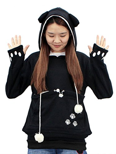SAIANKE Womens Hoodies Pet Holder Cat Dog Kangaroo Pouch Carriers Pullover