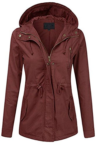 Women's Zip Up Military Anorak Jacket W/Hood (Plus Size)