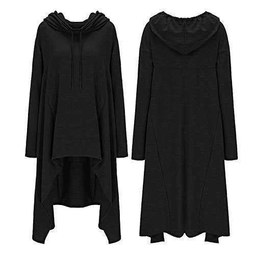 Women's Solid Color Pullover Hoodie Asymmetric Hem Sweatshirts Dress S-4XL