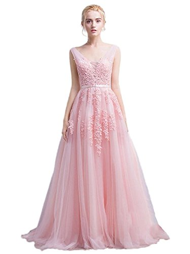 838bb89b4 Babyonline Women s Double V-neck Tulle Appliques Long Evening Cocktail Gowns