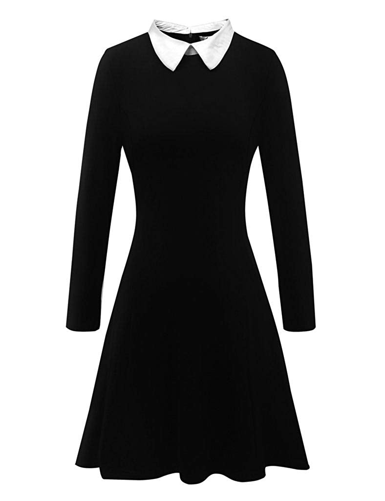 Women's Long Sleeve Casual Peter Pan Collar Fit and Flare Skater Dress