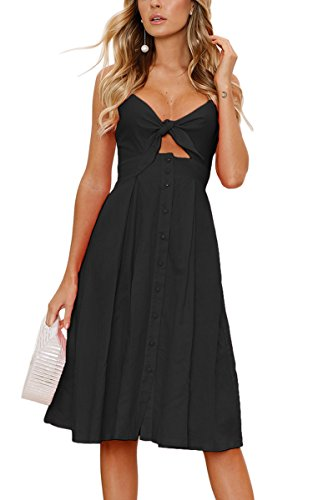 90e703571a5 ECOWISH Womens Dresses Summer Tie Front V-Neck Spaghetti Strap Button Down  A-Line