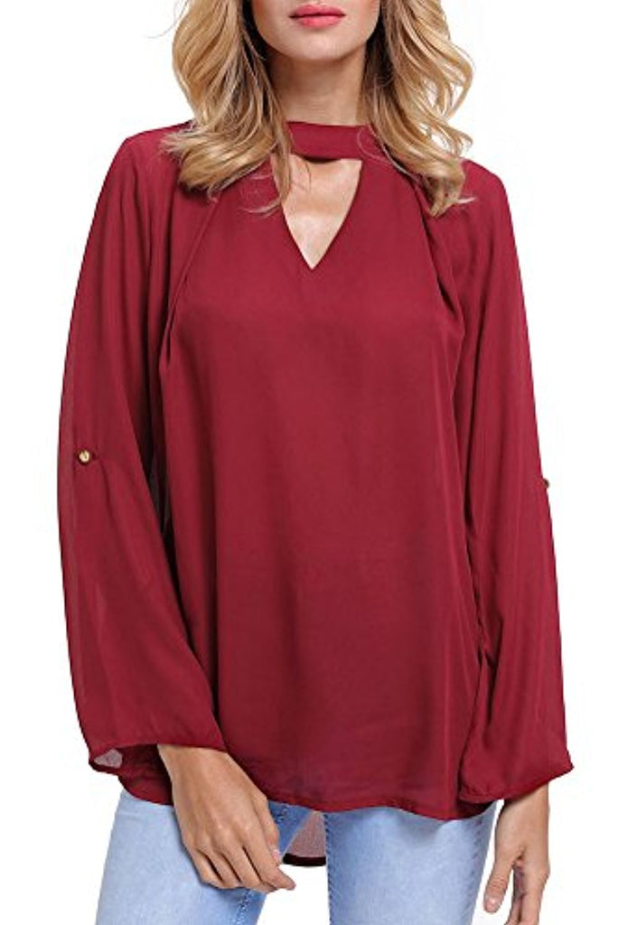 Women's Casual V Neck Cuffed Sleeves Solid Chiffon Blouse Top