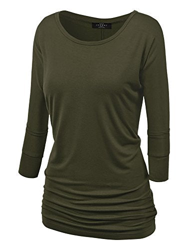 Womens 3/4 Sleeve Drape Top with Side Shirring - Made in USA