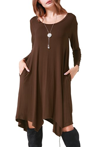 Casual Loose Soft Crewneck Pockets Stretchy Swing T-shirt Dress