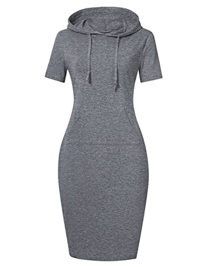 Women Pullover Stripe Pocket Keen Length Slim Sweatshirt Causal Hoodie Dress
