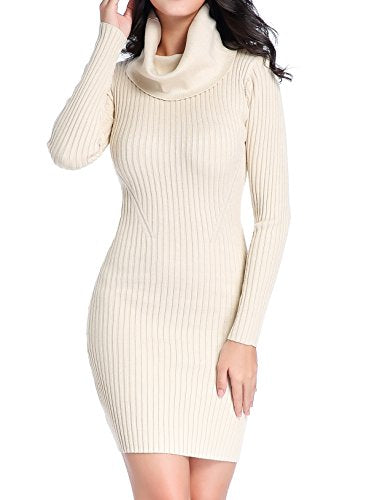 Women Cowl Neck Knit Stretchable Elasticity Long Sleeve Slim Fit Sweater Dress