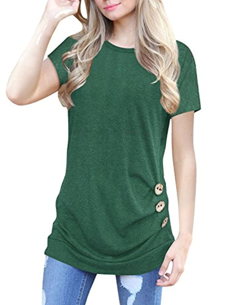 Womens Short Sleeve Casual Round Neck Loose Button Side Tunic Top Blouse T-Shirt