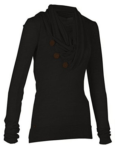 Merryfun Women's Sport Casual Long Sleeve Knitted Draped Button Blouse Top