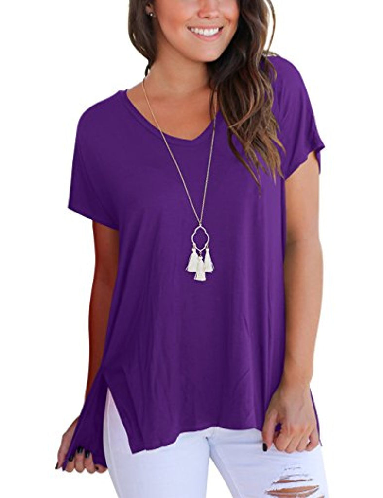 Women's Short Sleeve High Low Loose T Shirt Basic Tee Tops With Side Split