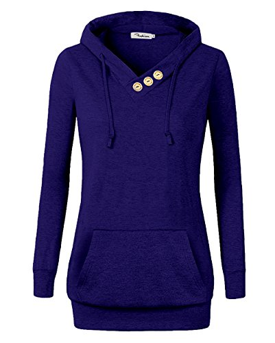 Women's Sweatshirts Long Sleeve Button V-Neck Pockets Pullover Hoodies