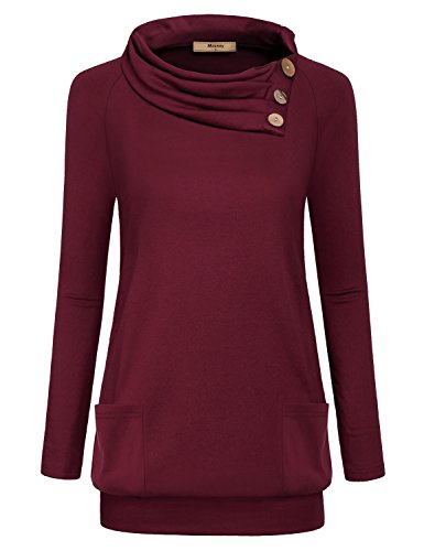 Womens Raglan Long Sleeve Cowl Neck Pullover Casual Tunic Sweatshirts with Pockets