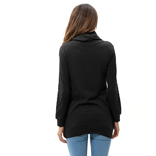 Women's Tops Button Cowl Neck Fashion Slimming Tunic Shirts