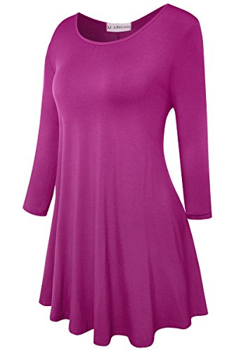 Womens 3/4 Sleeve Loose Fit Swing Tunic Tops Basic T Shirt