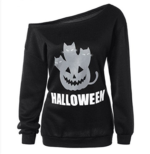 Guandiif Womens Halloween Sweatshirts Pumpkin Shirts Off Shoulder Pullover Tops Halloween Women Slouchy Shirts