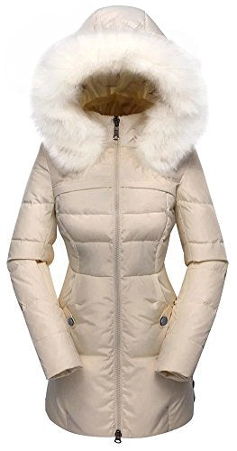 Women's Down Coat With Fur Hood With 90% Down Parka Puffer Jacket