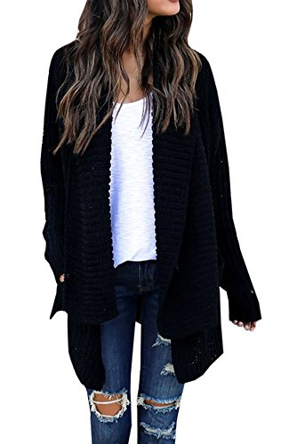 Women's Loose Fit Long Sleeve Knitted Cardigan Sweaters Outerwear with Pocket
