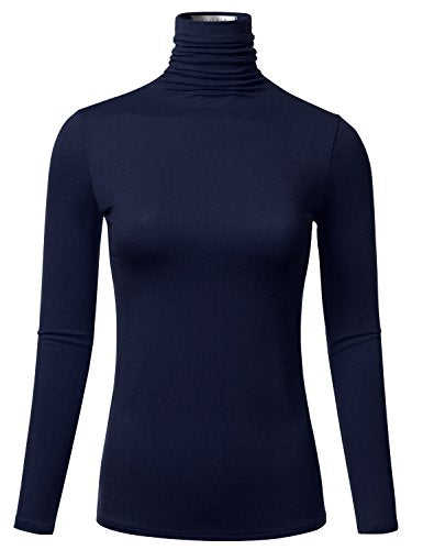 Womens Long Sleeve Lightweight Turtleneck Top Pullover Sweater