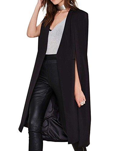 Women Casual Open Front Cape Trench Duster Coat Longline Blazer