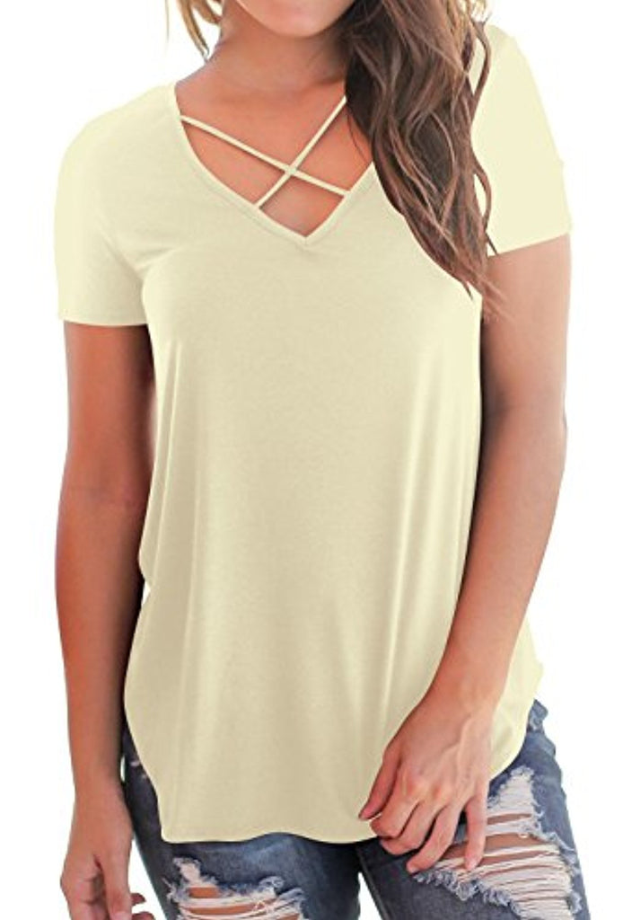Women's Casual Short Sleeve Solid Criss Cross Front V-Neck T-Shirt Tops