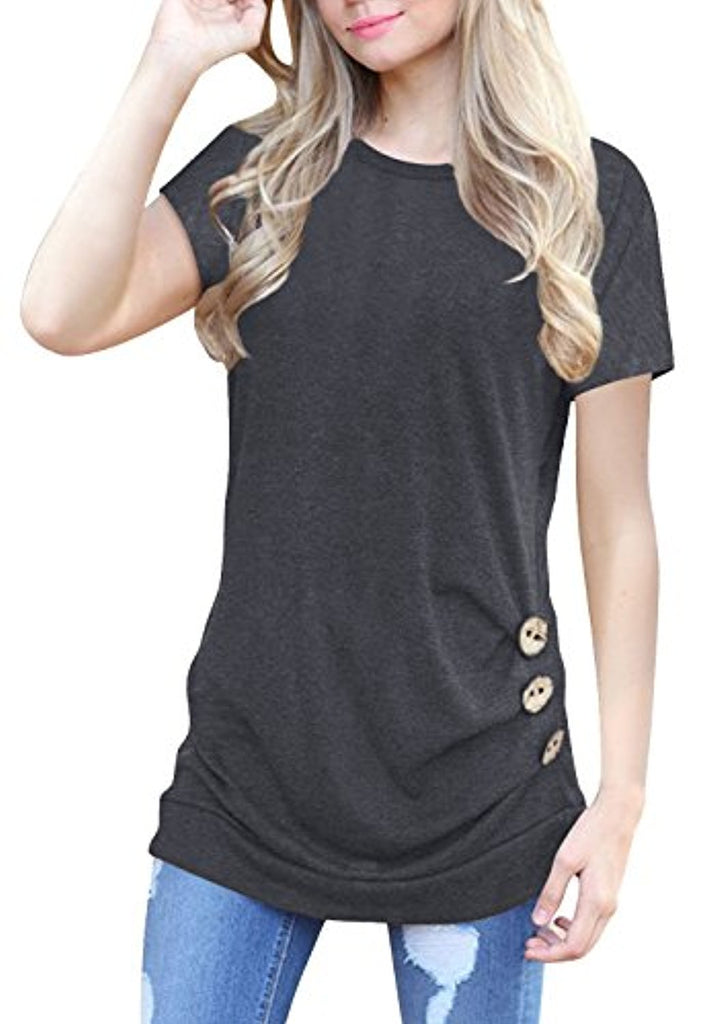 525b617b356ab Womens Short Sleeve Casual Round Neck Loose Button Side Tunic Top Blouse T- Shirt