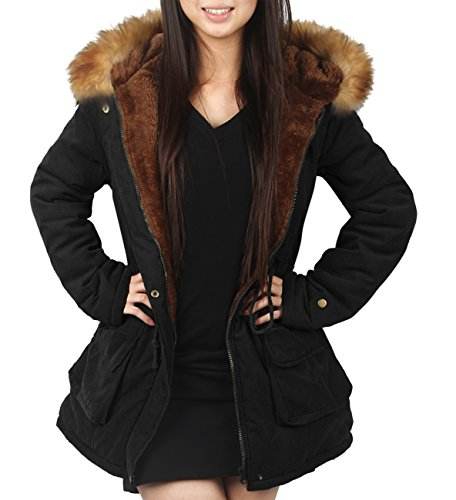 Womens Hooded Warm Coats Parkas with Faux Fur Jackets