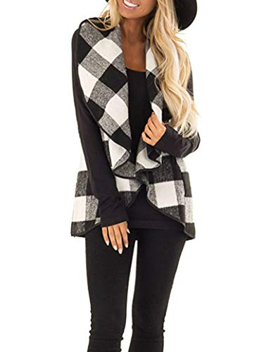 Womens Casual Lapel Open Front Plaid Vest Cardigan Coat Pockets