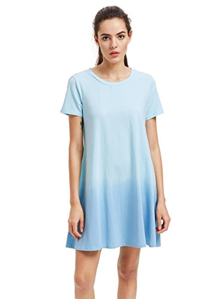 (Plus Size) Women's Tunic Swing T-Shirt Dress Short Sleeve Tie Dye Ombre Dress