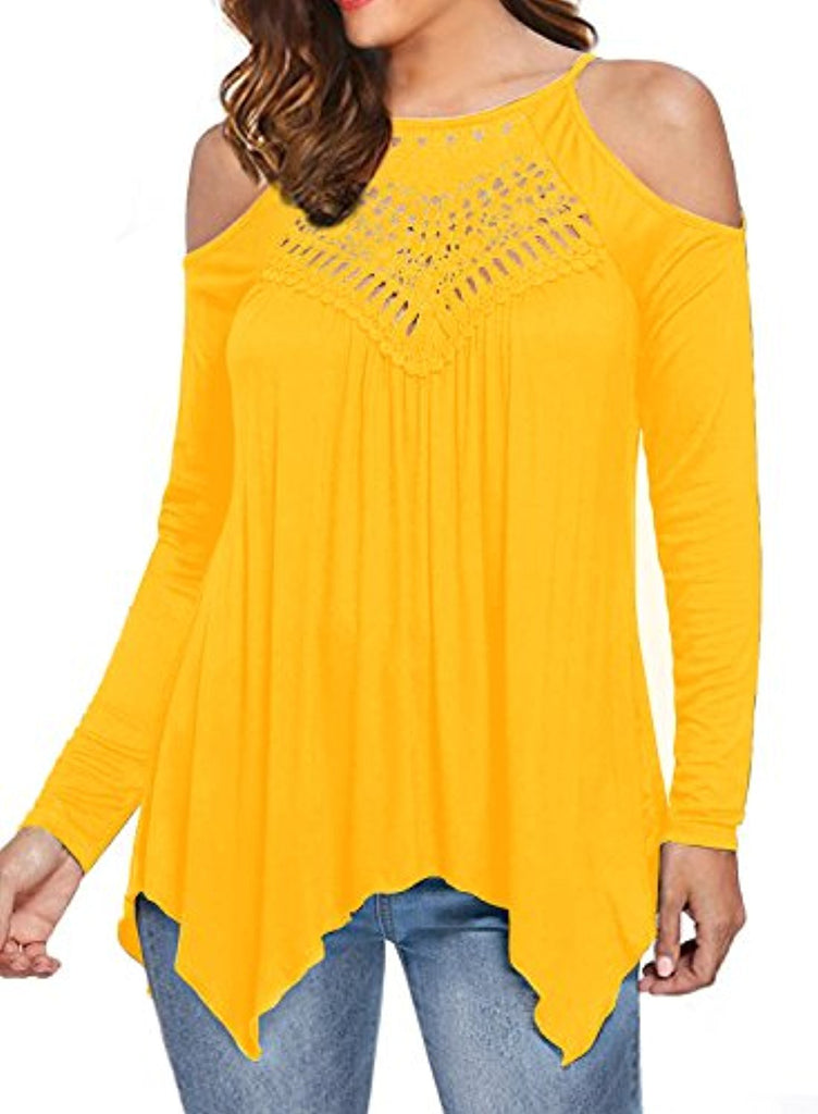 Women's Casual Tops Lace Off Shoulder Long Sleeve Loose Blouse Shirts