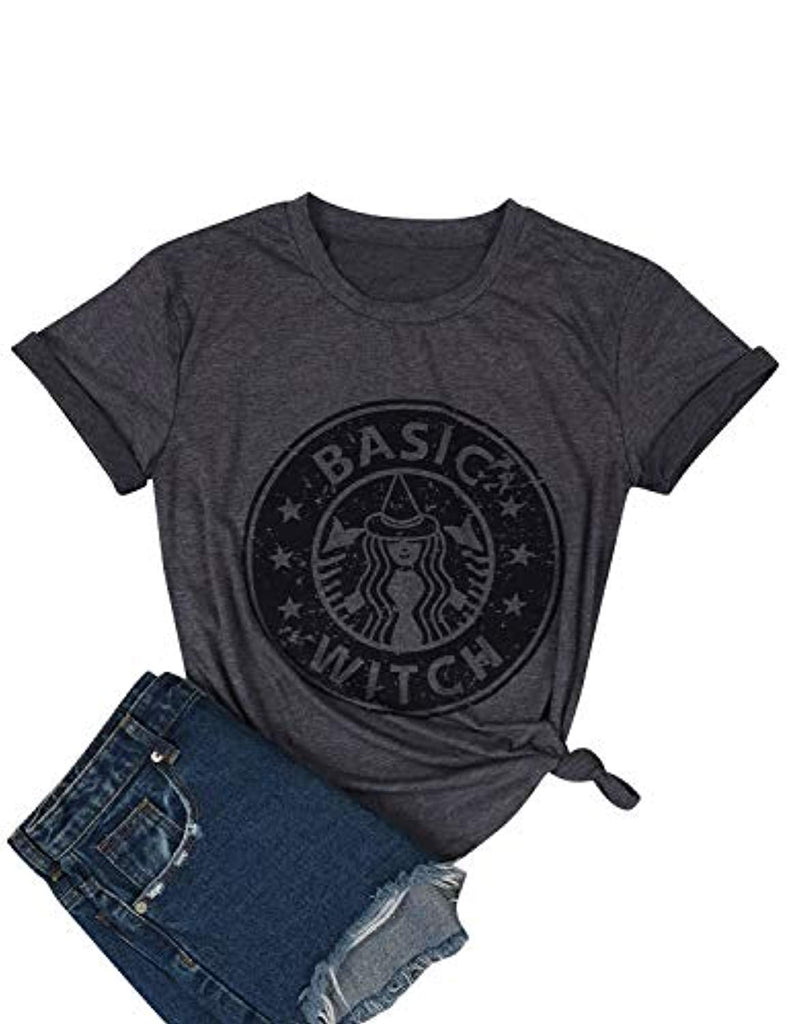 Women Basic Witch T-Shirt Hocus Pocus Tshirt Coffee Tee Casual Graphic Top