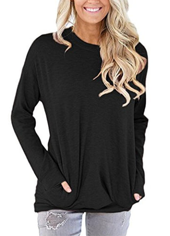 onlypuff Loose Tops Sweaters For Women Batwing Sleeve Casual T-Shirts With Pockets Long Sleeve Tunics Soft & Lightweight