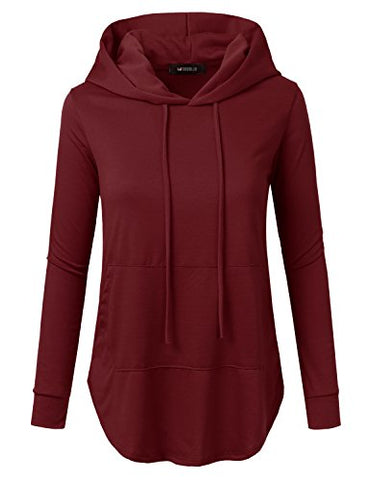 Doublju Loose Fit Pullover Hoodie With Kangaroo Pocket For Womens With Plus Size (Made In USA)