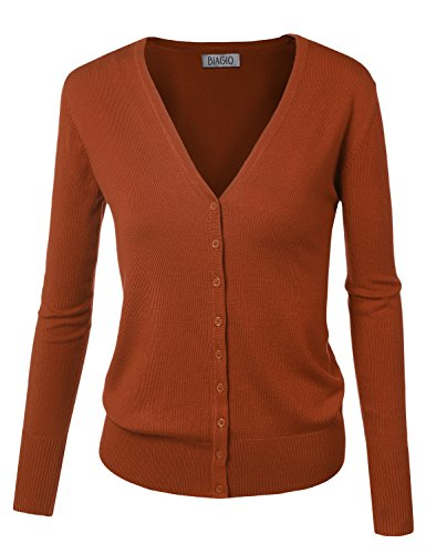 Women Button Down Long Sleeve Basic Soft Knit Cardigan Sweater