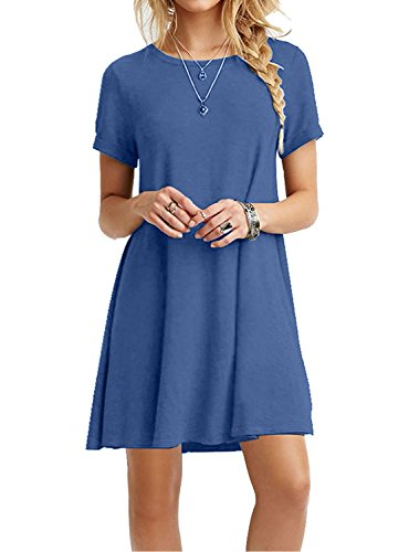 Women's Casual Plain Simple T-shirt Loose Dress