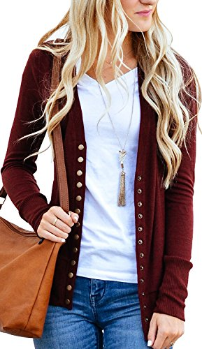 Women's V-Neck Button Down Knitwear Long Sleeve Soft Basic Knit Snap Cardigan Sweater