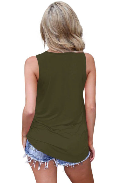 Women's Criss Cross Casual Cami Shirt Sleeveless Tank Top Basic Lace up Blouse
