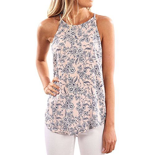 Women Crew Neck Sleeveless Floral Print Shirt Tops Tee Tanks Camis