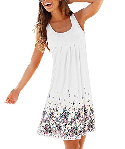 Womens Summer Casual Sleeveless Mini Printed Vest Dresses