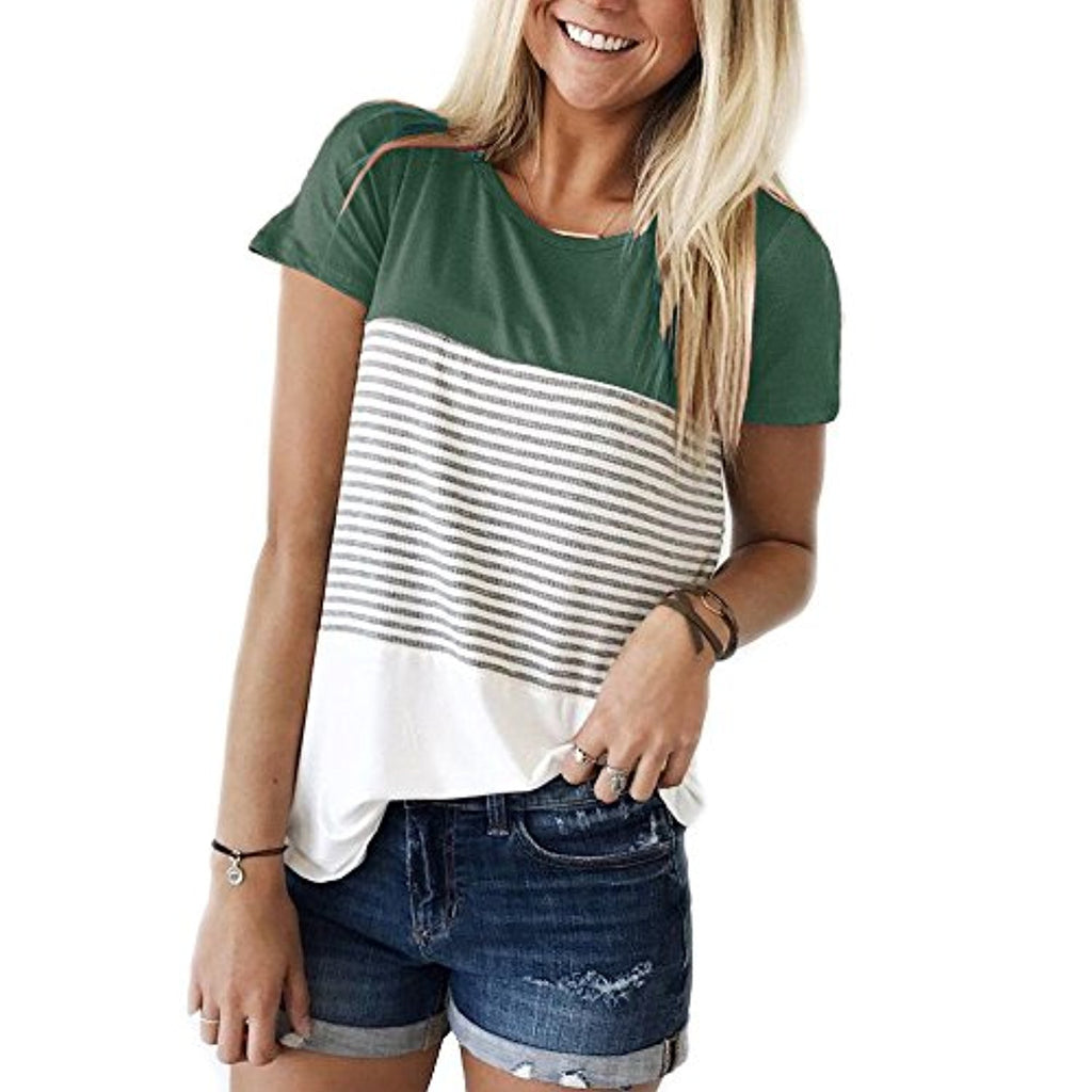 Short Sleeve Round Neck Triple Color Block Stripe T-Shirt Casual Blouse