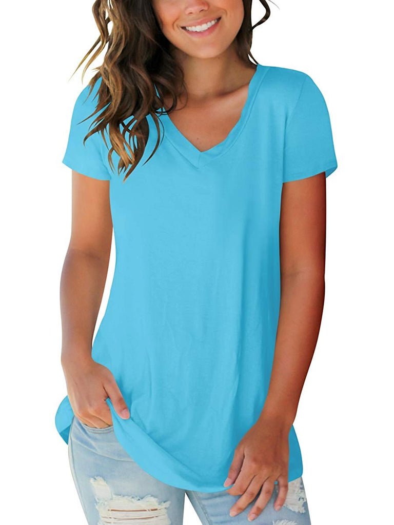 Women's Basic V Neck Short Sleeve T Shirts Summer Casual Tops