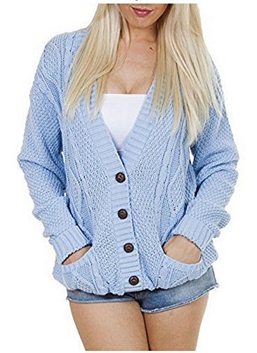 Women's Ladies Long Sleeve Pocket Cable Knit Chunky Cardigan Size 6-24