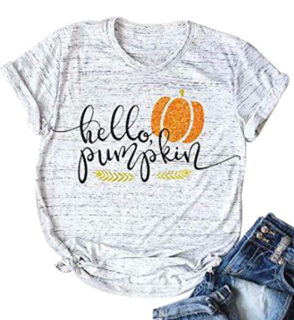 Halloween Pumpkin Costume Funny Tees Women's Letters Print Short Sleeve T-Shirt Tops