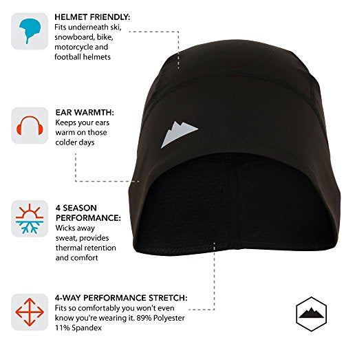 Skull Cap / Helmet Liner / Running Beanie - Ultimate Thermal Retention and Performance Moisture Wicking. Fits under Helmets