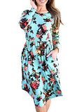 ZESICA Women's Long Sleeve Floral Pockets Casual Swing Pleated T-shirt Dress